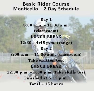 Basic Rider's Course Schedule